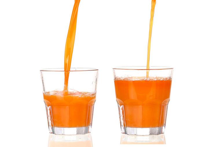 Close-up of orange juice against white background