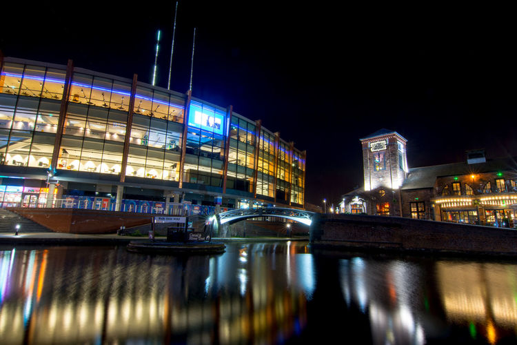 Birmingham brindley place long exposure Architecture Built Structure Canals And Waterways City Illuminated Long Exposure Night Nightlife Outdoors Reflection Reflection Travel Destinations Urban Skyline