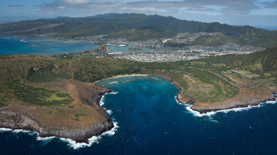 Aerial photography Oahu, Hawaii Water Scenics - Nature Beauty In Nature Mountain Tranquil Scene Tranquility Nature No People Sea Day Idyllic Non-urban Scene Mountain Range Land High Angle View Environment Travel Sky Outdoors Hawaii