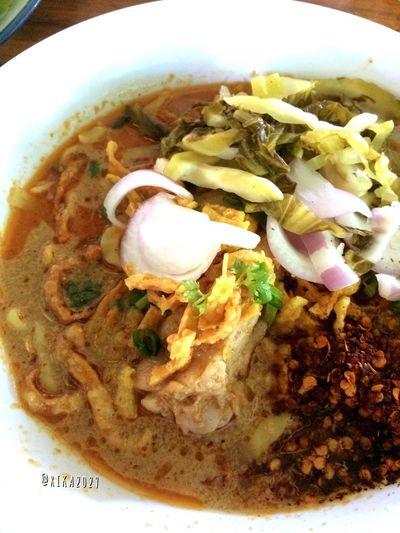ข้าวซอยไก่ Egg Noodle in Chicken Curry (Kao Soi Kai ) Noodles Thai Food