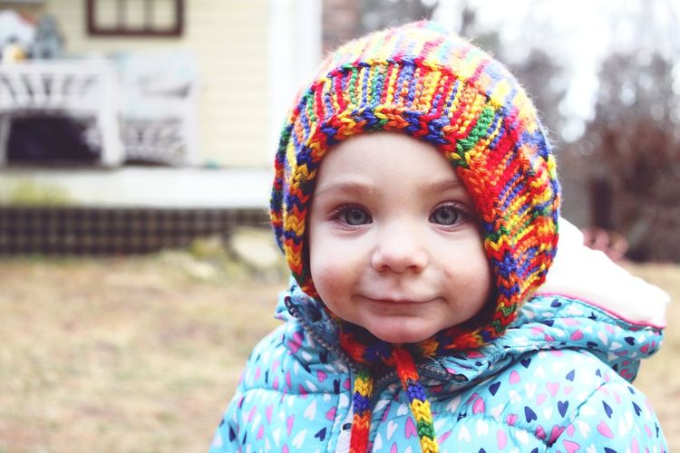 Kids Being Kids Facial Expression Kids Having Fun Happiness Little Girl Massachusetts Cold Temperature Multi Colored Vibrant Color Portrait Child Childhood Multi Colored Looking At Camera Headshot Warm Clothing Girls Smiling Close-up Knit Hat Eyelash Winter Coat Pretty