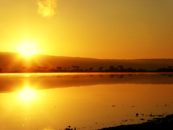 African Beauty Reflection Sunrise Sunset Scenics Nature Lake Sun Sky Beauty In Nature Tranquility Outdoors Landscape Water No People Tranquil Scene Sunlight Silhouette Travel Destinations Mountain Beauty Day Africa Kenya Safari EyeEmNewHere The Great Outdoors - 2017 EyeEm Awards