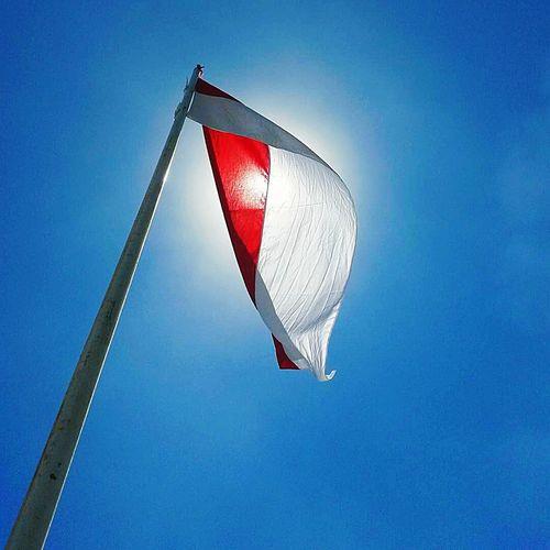 Flag Clear Sky Outdoors merahputih bluesky Patriotism Day Red Sky Sport No People First Eyeem Photo
