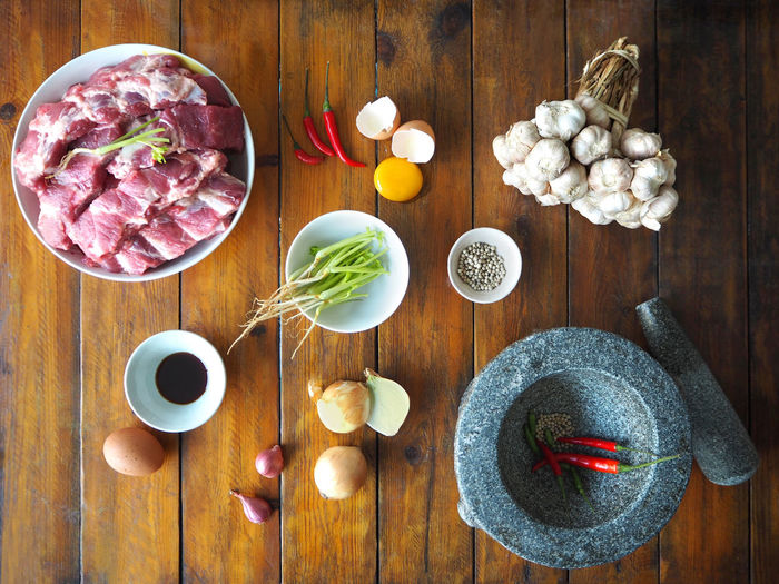 💛🥚🍽🥩🍳💛 Exceptional Photographs Tadaa Community Arrangement Directly Above Egg Food Freshness Healthy Eating High Angle View In The Kitchen Indoors  Ingredient Meat No People Pepper Plate Preparation  Raw Food Refreshment Still Life Table Thai Kitchen Vegetable Wellbeing Wood - Material