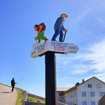 젊은이는 왼쪽으로 어르신은 오른쪽으로 리기쿨룸 역에서 리기산 꼭대기로 올라가는 길은 2개가 있고 그 갈림길에는 이 표지판이 서 있다. 선택은 자유 ㅎㅎㅎ Lucerne Luzern Rigi Rigikulm Swiss Switzerland 리기쿨룸 리기산 루체른 스위스 여행 Tour Hiking 하이킹
