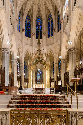 Interior view of St Patrick Cathedral in NYC Cathedral Church Manhattan NYC New York New York City Place Of Worship St Patrick's Cathedral Arch Architectural Column Architecture Belief Building Built Structure Ceiling Indoors  Interior Ornate Place Of Worship Religion Spirituality St Patrick Travel Destinations Vault