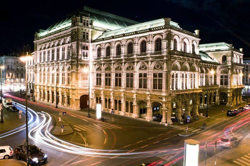 Vienna State opera Building Exterior Architecture Built Structure Illuminated Transportation Long Exposure City Light Trail Road City Life Night Motion Street Speed Traffic Rush Hour Travel Destinations Outdoors History Tail Light Vienna Wien Stateopera Viennastateopera