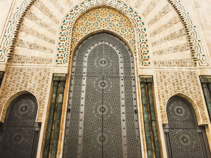 Closed doors of patterned building
