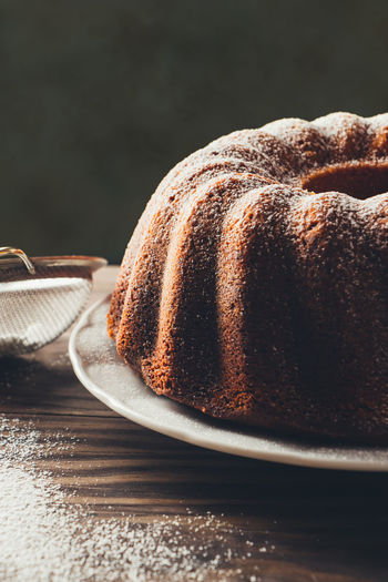 Close-Up Of Bundt Cake In Plate On Table