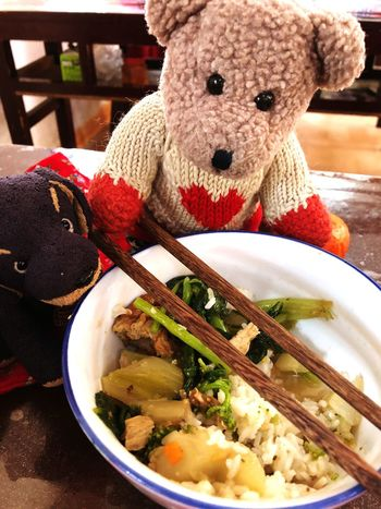 Lunchtime in China. Children's Toys Travelling Together Chinese Food Bowl Of Soup Chopsticks Healthy Eating Lunchtime Stuffed Animals Food And Drink Indoors  Food Close-up No People Freshness Ready-to-eat