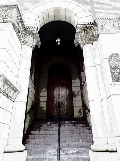 The first step is always the hardest Trust Enter Free Will Church Door Perception Narrow Entry Way Street Photography Angles And Lines