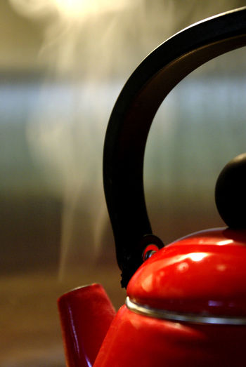 A watched kettle never boils Close-up Cookery Detail Focus On Foreground Kettle Kitchen Kitchen Utensils Kitchenware Red Red Steam Still Life
