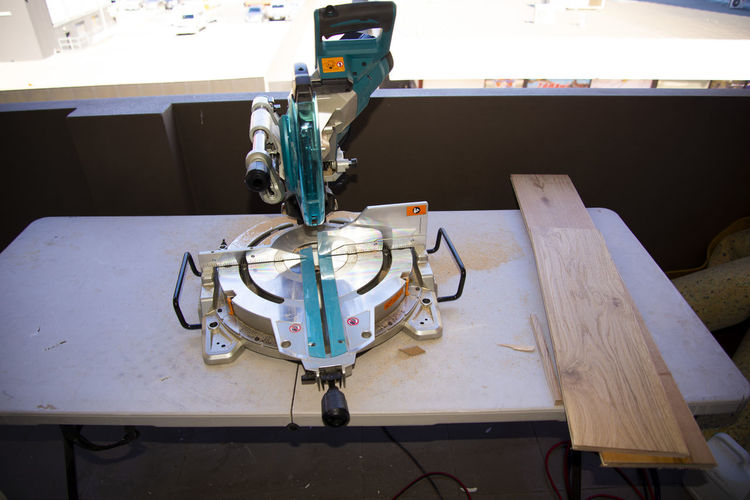 High angle view of machine on table