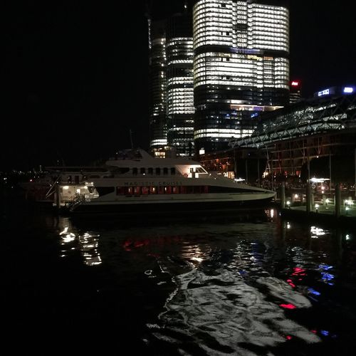 Izzymaxie Cities At Night Barangaroo mat night with HMS Endeavour replica at Darling Harbour Barangaroo Darlingharbor HMS Endeavour