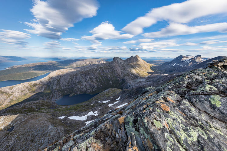 Cloud Hiking Northern Norway Norway Per Karlsatind Adventure Beauty In Nature Day Lake Landscape Mountain Mountain Peak Mountain Range Nature No People Nordland County Outdoors Scenery Scenics Sky Summit Summit View Tranquil Scene Tranquility Åselidalen