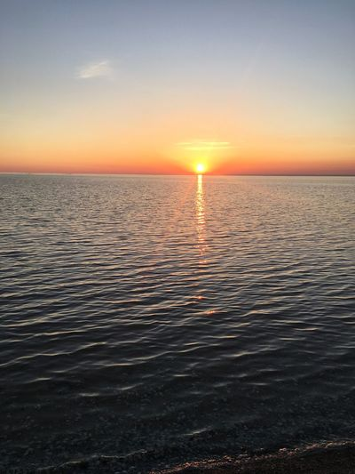 Sunset Sea Beauty In Nature Water Horizon Over Water Idyllic Tranquility Rippled Sky Sun Outdoors No People Белосарайская Коса Purist No Edit No Filter Azov Sea