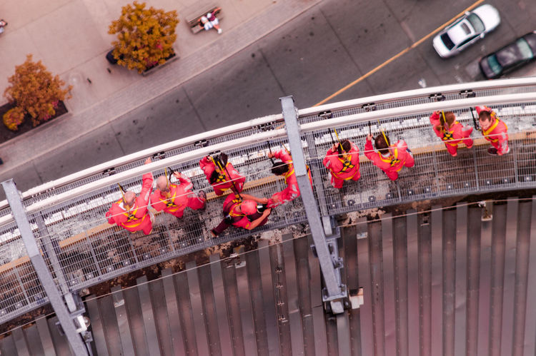 EdgeWalkers On The CN Tower Adventure Club Canada Coast To Coast Check This Out CN Tower Enjoying Life Exceptional Photographs Eye4photography  EyeEm Best Shots From My Point Of View Getting Inspired Hanging Out High High Angle View High Up Looking Down People Safety First! Relaxing Red Taking Photos Tall Tall - High Thrillseeker Walking Around First photo to get to Popular Number 1!