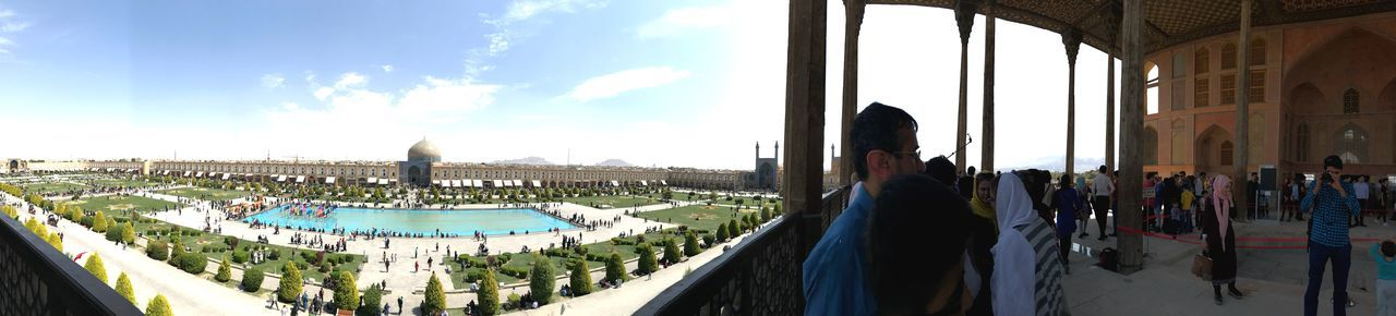 Ali Qapu (Persian: عالی قاپو, 'Ālī Qāpū) is a grand palace in Isfahan, Iran. It is located on the western side of the Naqsh e Jahan Square, opposite to Sheikh Lotfollah Mosque, and had been originally designed as a vast portal. It is forty-eight meters high and there are six floors, each accessible by a difficult spiral staircase. In the sixth floor, Music Hall, deep circular niches are found in the walls, having not only aesthetic value, but also acoustic. Go Higher The Street Photographer - 2018 EyeEm Awards