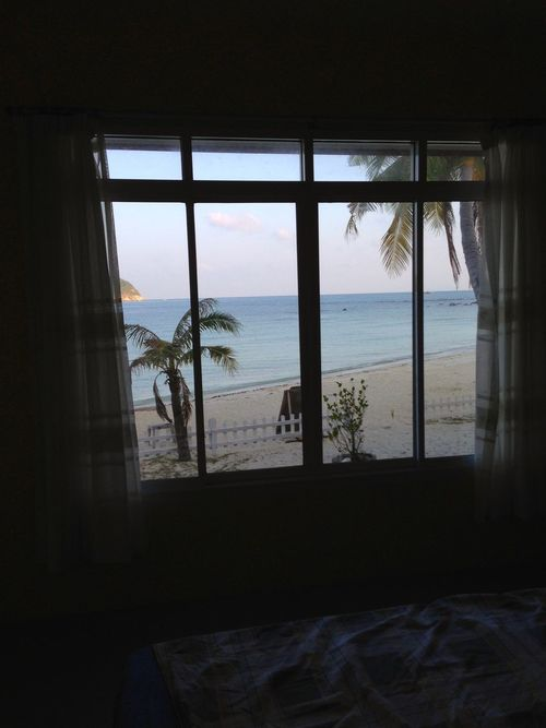 View from a window. Looking Out The Window Beach View Sea View Thailand Palm Trees Fanta Beach Stunning Views Through The Curtains Waking Up Morning View Spotted In Thailand Chaloklum