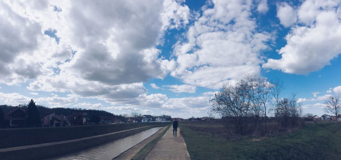 Blue Sky Blue Walk Riverside River Cloud - Sky Sky Transportation Road Day The Way Forward Nature Outdoors No People Beauty In Nature Tree
