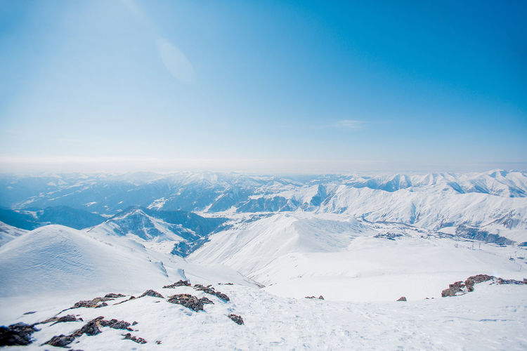 Aerial view of snow covered mountain range against sky
