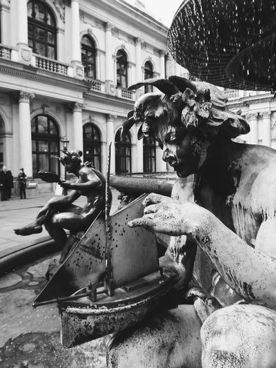 Hamburg Town Hall Blackandwhite Black And White Photography Black And White Historic Fountain History Drinking Fountain The Past Castle Historic Building Palace Statue
