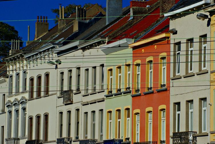 Architecture Brussels Building Exterior Chimneys City Color Of Life Color Of Life! Exterior Façade In A Row Low Angle View Multi Colored No People Outdoors Sky Colour Of Life The Graphic City