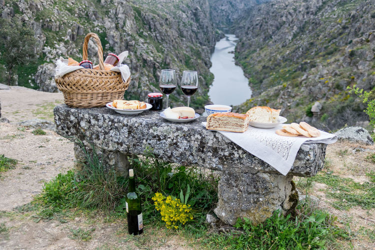 Picnic and landscape Basket Bread Day Food Food And Drink Forest Landscape Mountain Nature No People Outdoors Picnic Basket Tree Wineglass