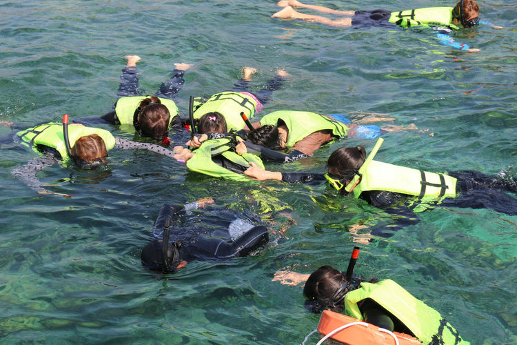 Tourists are snorkeling in the middle of the sea during the holidays Day Floating On Water Group Of People High Angle View Inflatable  Leisure Activity Life Jacket Lifestyles Men Nature Nautical Vessel Outdoors People Real People Sea Sport Swimming Trip Water Women