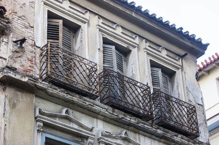 Abandoned Architecture Athens Balcony Building Building Exterior Built Structure Low Angle View No People Old Ruined Sky Window
