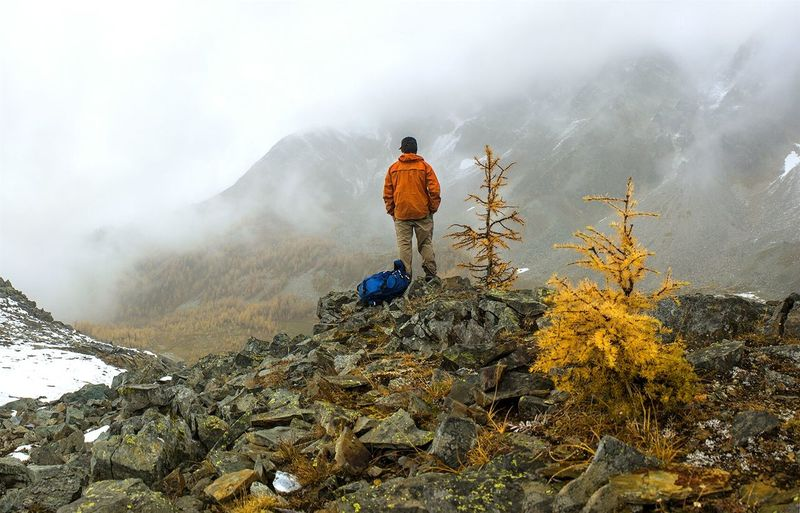 Rear view of man on mountain during foggy weather