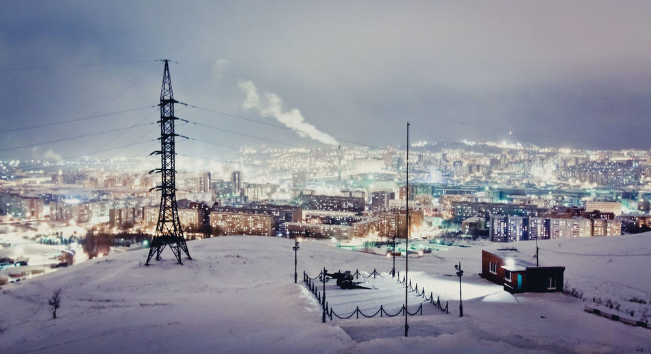 Krasnoyarsk Lights Russia Siberia, Russia Architecture Built Structure City Cityscape Cold Temperature Electricity Pylon Night No People Outdoors Siberia Sky Snow Weather Winter