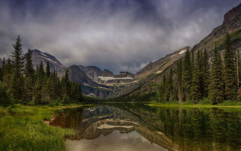 panoramic view of glacier national park, montana , usa, in the afternoon Mountain Beauty In Nature Lake Scenics - Nature Reflection Tranquil Scene Nature Mountain Range No People Idyllic Environment Landscape Mountain Peak Glacier National Park Montana USA Nature_collection Nature Photography Panoramic View Dark Afternoon Grinnell Lake Rocky Mountains Travel Photography Travel Destinations