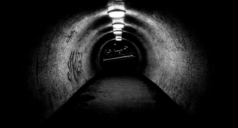 Arch Architecture Diminishing Perspective Electric Light History Indoors  Light At The End Of The Tunnel No People Stone Material The Past The Way Forward Vanishing Point Wall - Building Feature