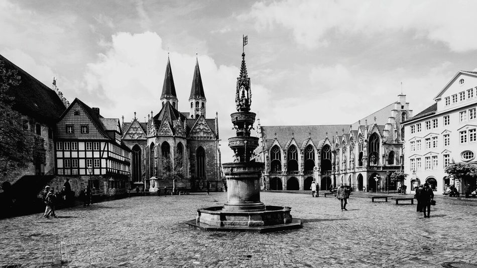 Vedute Square Medieval City Timber Framed Houses Town Hall Fountain Church Brunswick Braunschweig