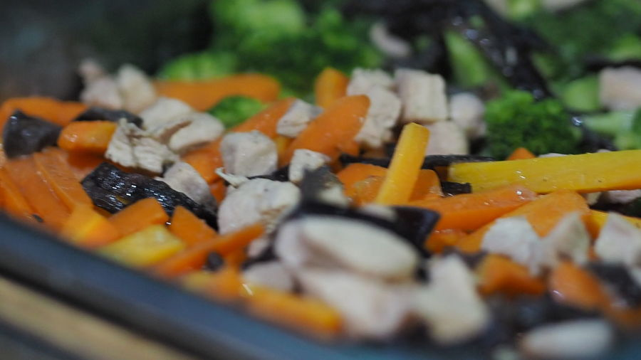 Close-up of chopped vegetables in plate