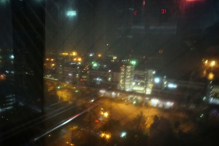 High Angle View Night City Night Lights In The Elevator Reflection Looking Through Window Lines Illuminated Road Architecture Night Photography Nightlife City Cityscape