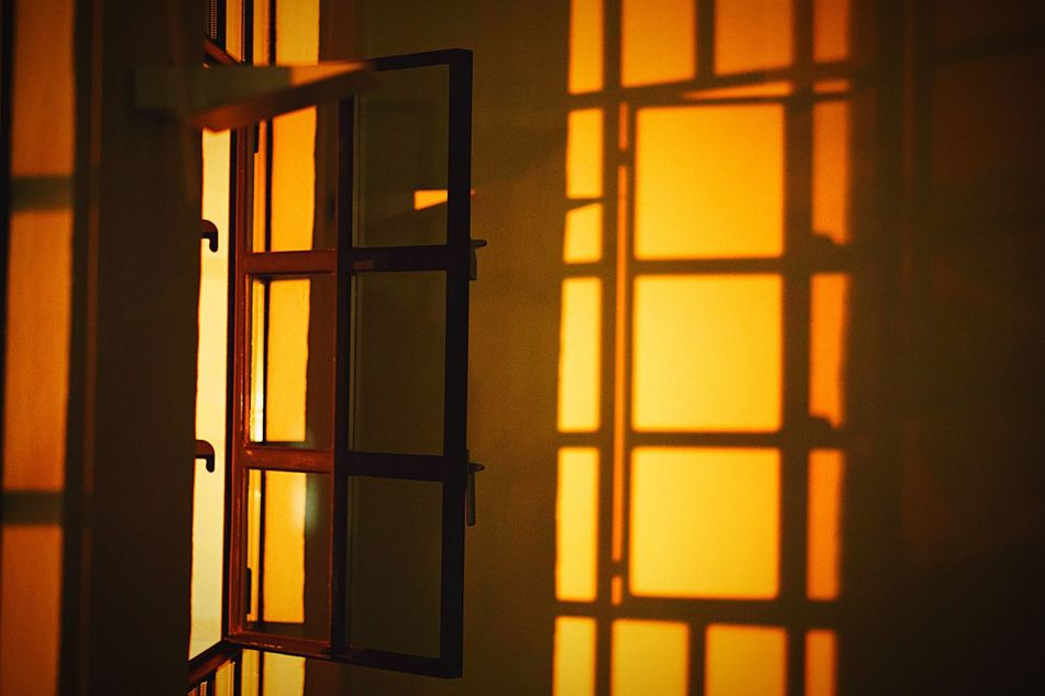 Illustration WINDOW WITH A VIEW Sun Rays Warm Light Warm Yellow Texture Graphics Graphic Architecture EyeEm Selects Window Door Safety Indoors  No People Close-up Architecture Yellow Day Sky