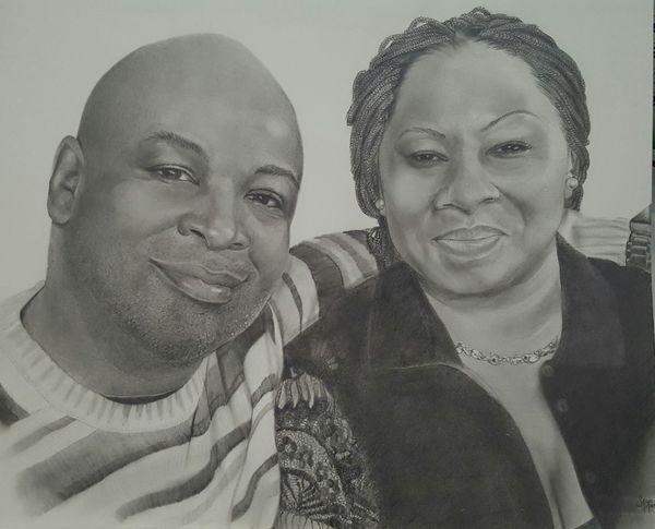 😊 Myartwork Portrait Family Couple - Relationship Pencil Sketch  Blackandwhite ArtWork Husband&wife