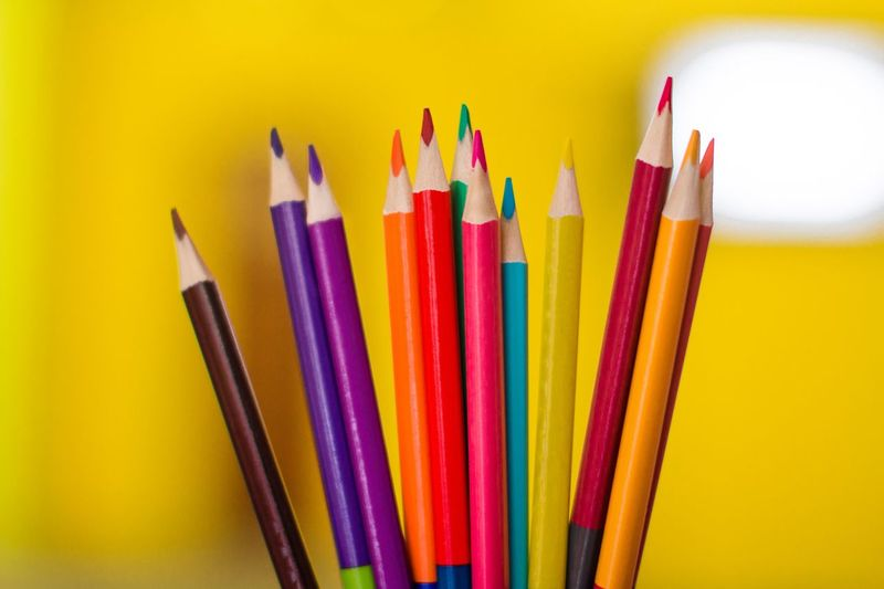 Colored pencils School Supplies Rainbow Colors Creative Creativity Artist Childhood Imagination Colouring  Coloring Yellow Background Dreaming Multi Colored Variation Writing Instrument Pencil Choice Colored Pencil Close-up Art And Craft Art And Craft Equipment Vibrant Color