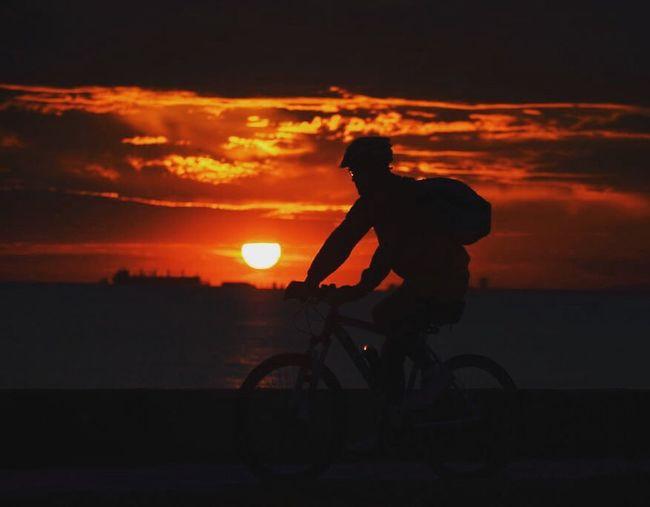 İstanbul. Sunset Silhouette Cloud - Sky Bicycle One Person Cycling Riding Biker Türkiye Istanbul Photographer Turkey Travel Nikon Sea Bostancı Gunbatimi The Street Photographer - 2017 EyeEm Awards