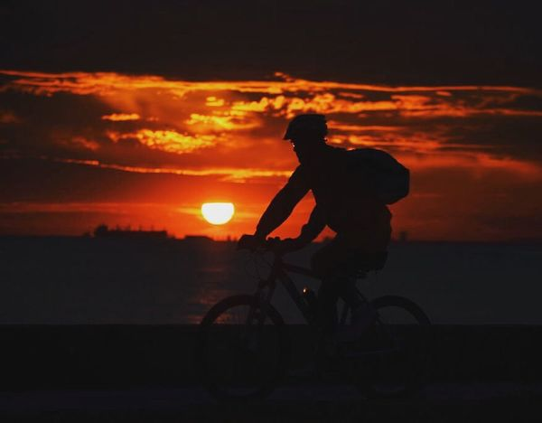 Live For The Story Sunset Silhouette Cloud - Sky Bicycle Sky One Person Side View Cycling Transportation Riding Outdoors Full Length One Man Only Motorcycle Nature Headwear People Adult Adults Only Biker Istanbul Bostancı Gunbatimi Bisiklet Mobility In Mega Cities