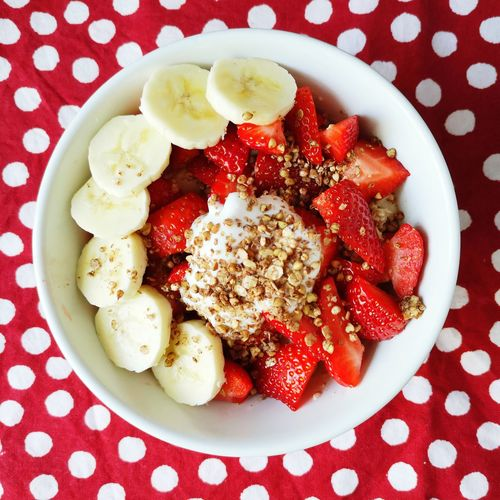 Breakfast in bed Food Porridge Oats Strawberry Breakfast Breakfast ♥ Good Morning Banana Red Directly Above High Angle View Close-up Food And Drink Polka Dot Breakfast Cereal Yogurt Granola Oats - Food