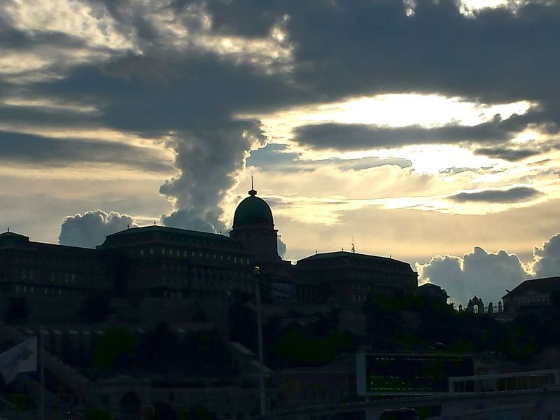 Castle View  River Cruise Night Cruise Dramatic Sky Just Before Sunset Dramatic Cloud Against Blue Sky Enjoying Life City View  Sightseeing Spot Budapest Castle Budapest Scenes Budapest, Hungary Riverside View Artistic Clouds Artistic Nature Like A Painting Impressive, Striking, Spectacular, Breathtaking; Panoramic Impressive View Impressive Locations From A Boat Showcase June