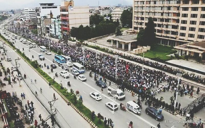 People Together Rally Of Nepal Top From The Building