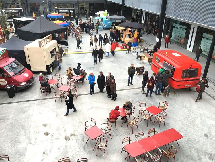 Opening shopping mall Capture The Moment Foodtrucks People Enjoying Red Food And Drink