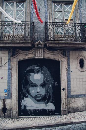 Architecture Art And Craft Bairro Alto, Lisboa Built Structure Creativity Graffiti Graffiti Art Lisbon Stencil Art