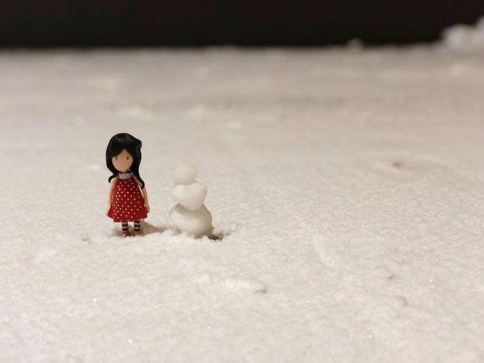 Winter with an imaginary friend Girl Childhood Child Toy One Person Winter Snow Offspring Human Representation Innocence Nature Cold Temperature Baby Day Focus On Foreground Full Length