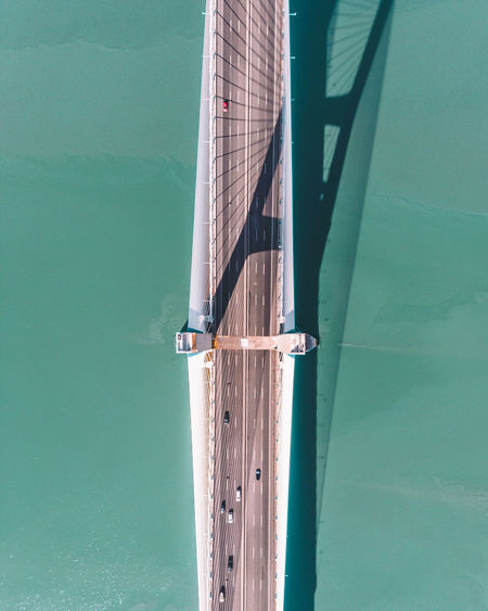 Aerial view of bridge over sea against sky
