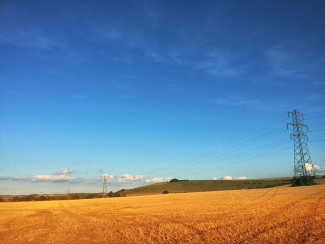 Landscape Electricity Pylon Fuel And Power Generation Tranquil Scene Field Rural Scene Sky Blue Scenics Agriculture Power Line  Cloud Nature Growth Outdoors Day Drive Home